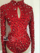 female stage costumes red rivet drill dress Sexy hollowed out DJ bodysuit for singer dancer star bar show party nightclub(China)