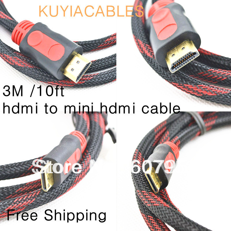 tracking number+Freeshipping 3 Meters Mini HDMI Cable HDMI to Mini HDMI Cable for Digital Camera,Tablet Computer(China (Mainland))