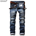 Newsosoo brand Mens pleated biker jeans for men slim fit Snow washed patch balmans style stretch