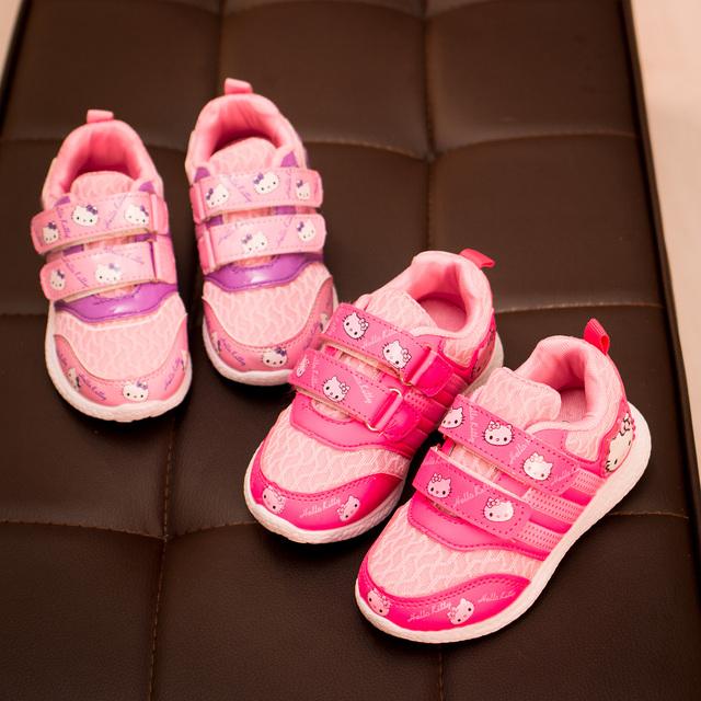 2016 весна девушки дышащей обуви kdis розовый KT обувь детская спортивная обувь легкие кроссовки сетки дети кроссовки 26 - 30