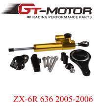 GT Motor – CNC Steering Damper complete Set for KAWASAKI ZX6R 636 2005 06 w/ bracket kits