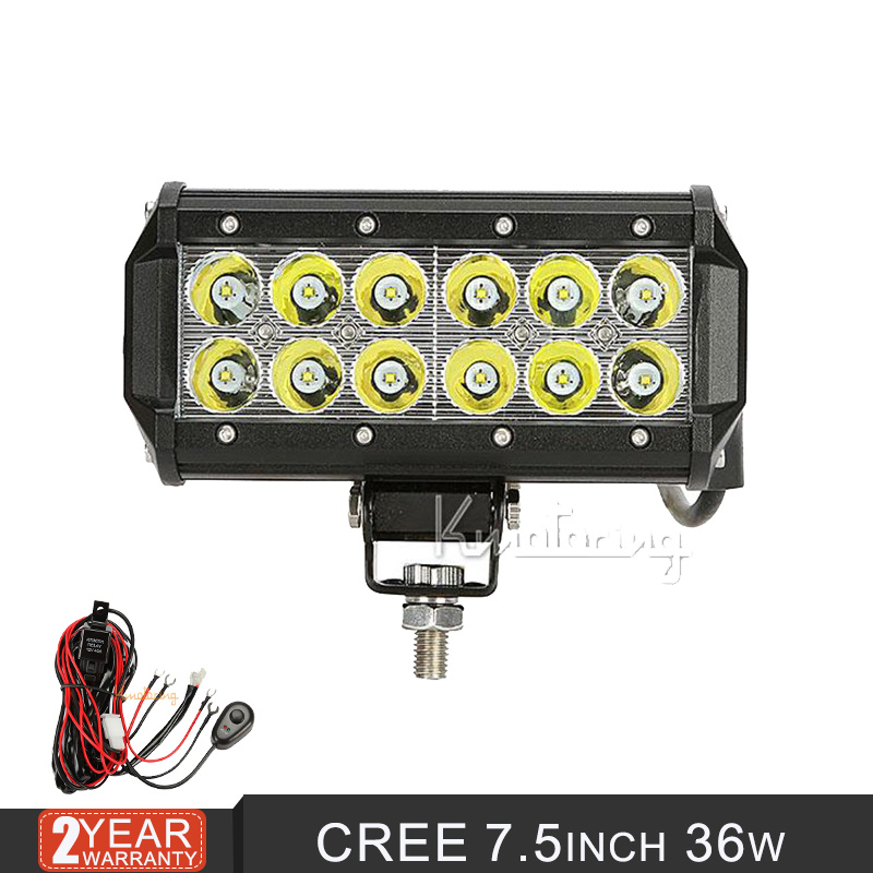 36w 7Inch Car Led Light  LED Work Light Bar Combo Driving Offroad Car Lamp ATV Boat Racing Car  Automobile Parts  New Products