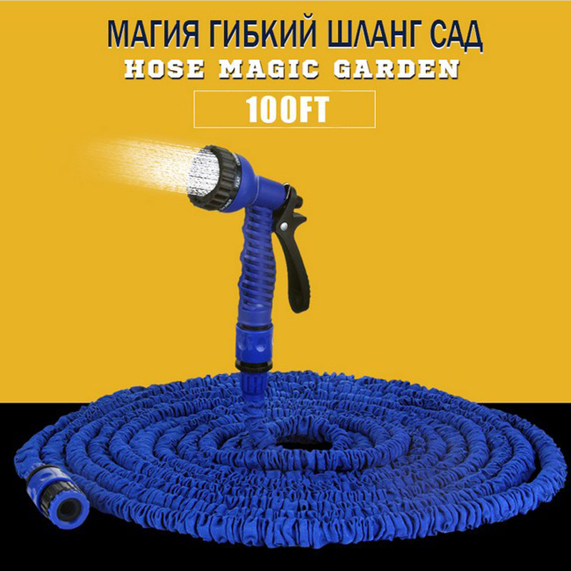 As Seen On Tv Hot Sale 100FT magic Hose Blue Flexible Extensible Garden Hose reels Car Pipe Water Valve+7 Function Spray Gun(China (Mainland))
