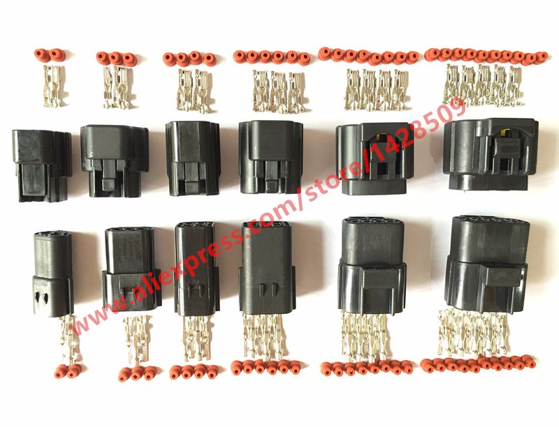 6 Sets 2P 3P 4P 6P 8P 10P Denso Style 2.0 Series Cable Adapter Wire Connector Automotive Electrical Connector 174259-2 318623-5