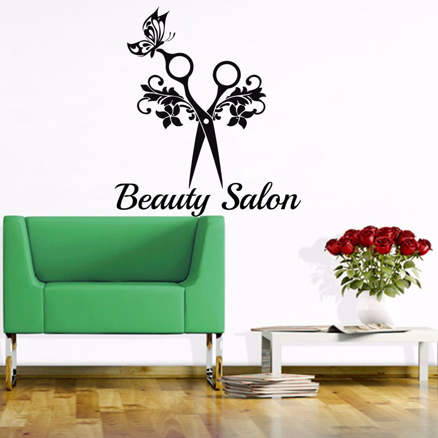 Barber shop sticker name scissors clipper hair salon decal - Stickers deco salon ...