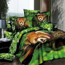 Buy Green Jungle Raccoon 3D Animal Print Bedding Sets Queen Size 100% Cotton Duvet Cover Bedsheet Pillowcase Bedroom Textiles Set for $85.14 in AliExpress store