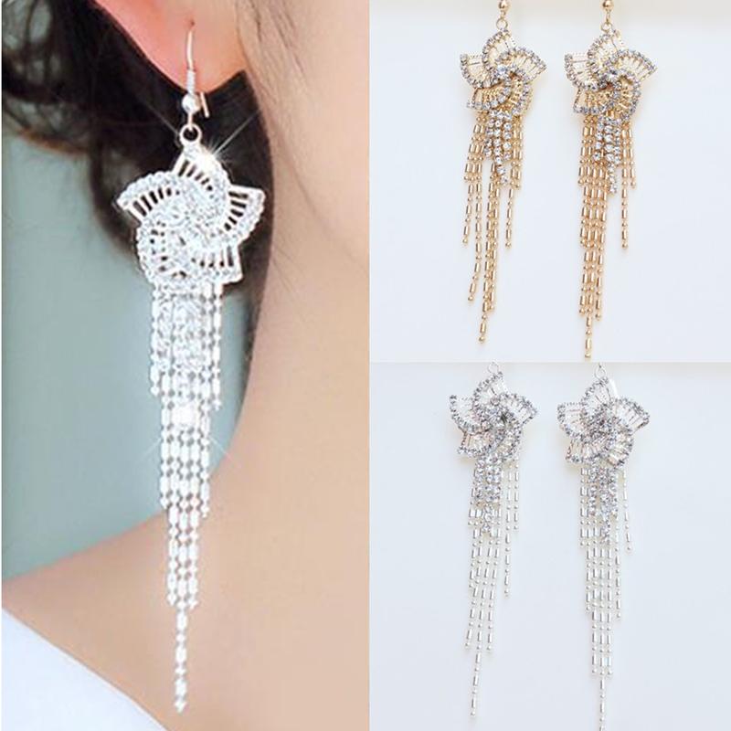 1 Pair Rhinestone Alloy Flower Women Dangle Earring Long Tassels Earring Drop Hook Cocktail Party Linear Earrings(China (Mainland))