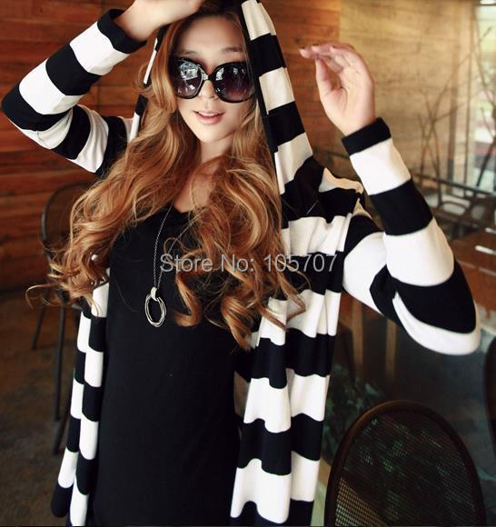2014 Spring-Autumn Brand New Fashion Designer Korean Casual Cotton Loose Striped Women Long Cardigans - fashion2012's store
