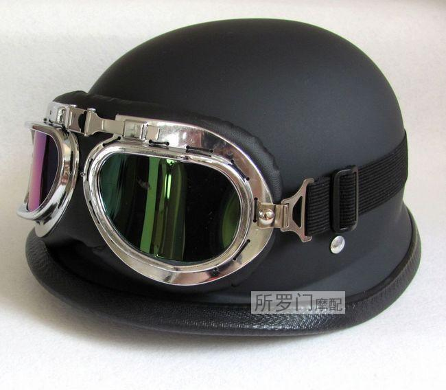 NEWWWII Style BLACK German capacete Motorcycle helmet Half Helmet Chopper Biker Pilot Goggles NEW, IN STOCK,(China (Mainland))