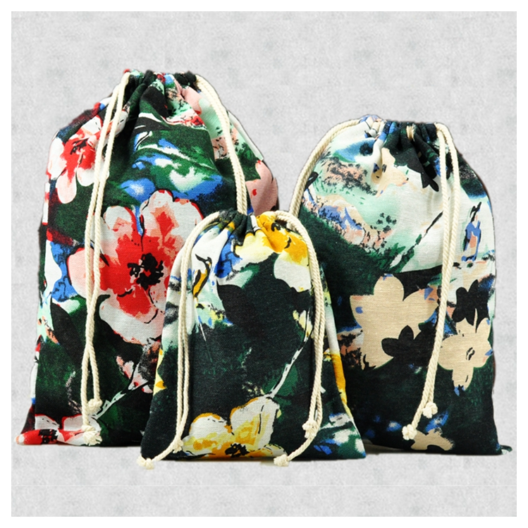 9 piece/lot Vintage Cotton Drawstring Bag S M L Mix Size Handmade Necessarie Clothing Storage Pouch Travel Storage Bags Gift Bag(China (Mainland))