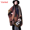 brand poncho and capes women winter scarf shawl ladies Vintage plaid Blanket knit wrap Cashmere fenmale
