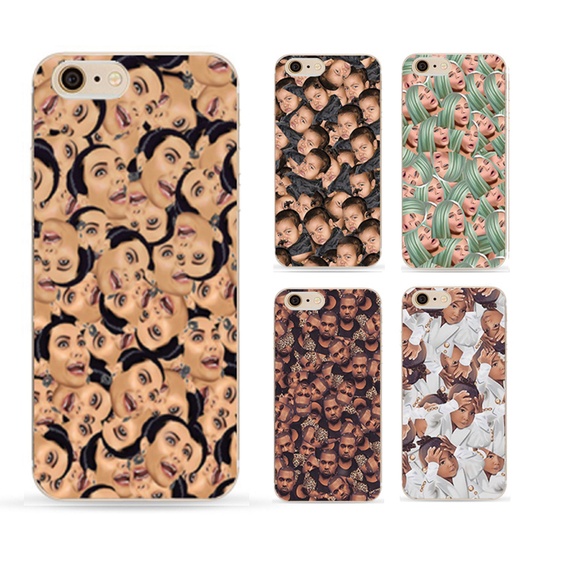 Funny Head Kim Kardashian's Family Kimoji Design Cover For Apple iphone 5 case transparent Shell For iphone 5s Cell phone cases(China (Mainland))