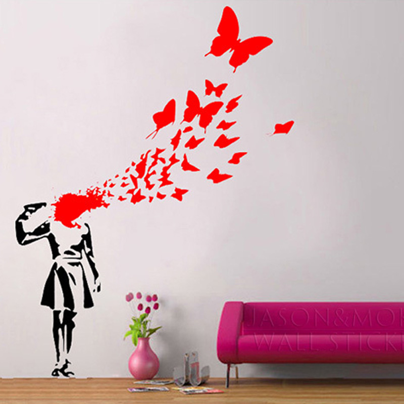 Popular butterfly cool buy cheap butterfly cool lots from for Bloody wall mural