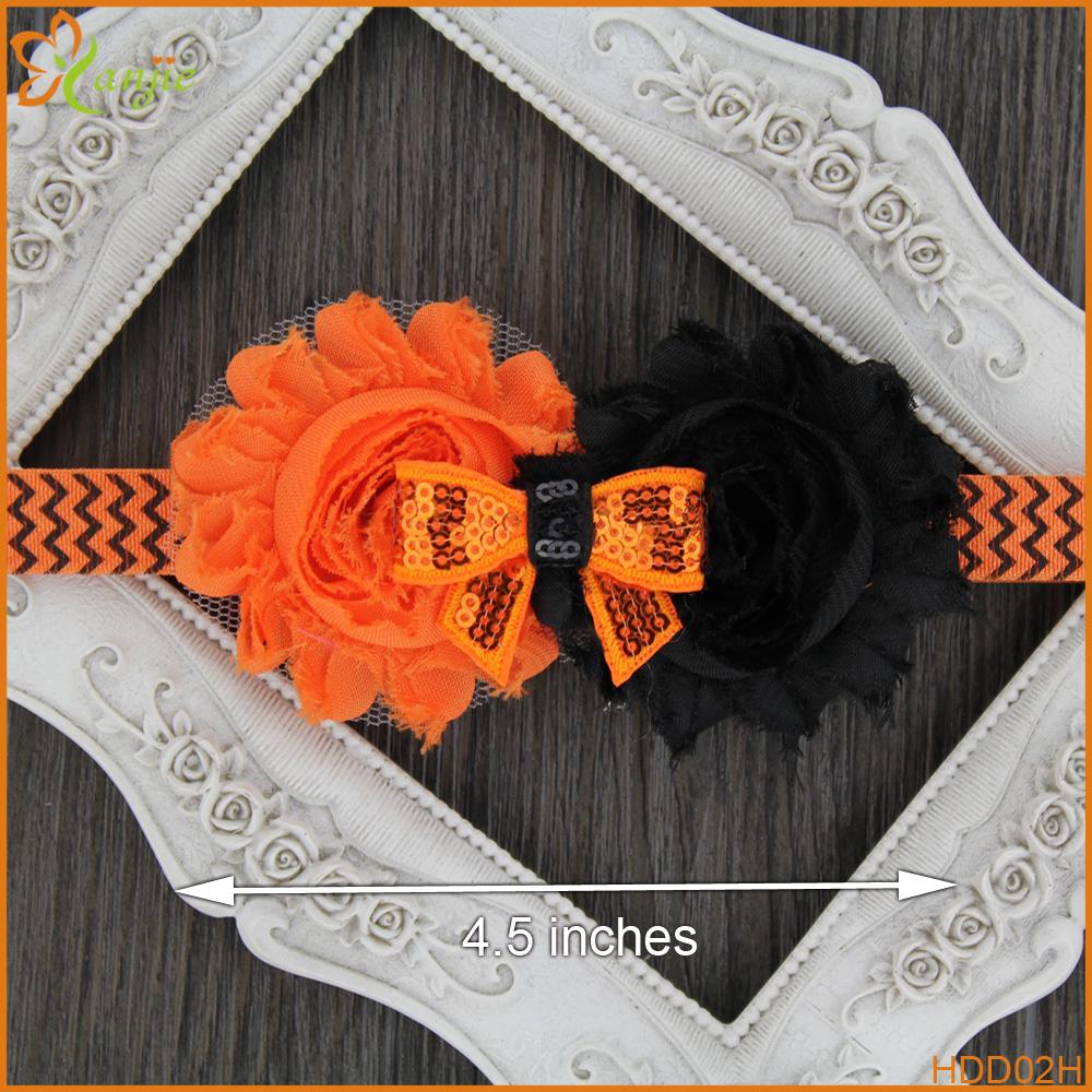 Baby Creative Festival Halloween Headband Hot-sale Two Flower Sequins Bow Girls' Elastic Hair AccessoriesTredny Toddler Headwear(China (Mainland))