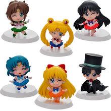 Anime Cartoon Sailor Moon Mercury Hino Rei Mars Kino Makoto Jupiter Minako Aino VenusAction Figure Doll Model Figurine