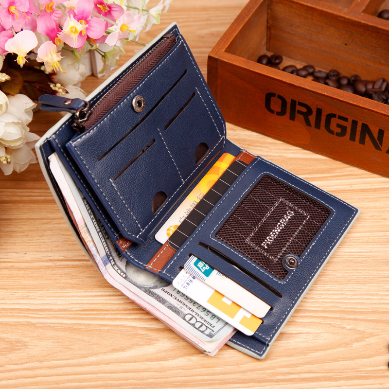 Fashion Bag Men Purse Brand Cheap Designer Men's Wallet 2015 New Man Leather Wallet With Zipper Coins Pocket Luxury Mens Wallet(China (Mainland))