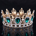 Green Rhinestone Tiaras Diadem Rhinestones Crystal Hair Accessories Pageant Party Prom Luxury Hair Jewelry