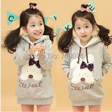 Hot sell girls Sweater 2015 spring autumn and winter rabbit girls clothing child fleece with a hood sweatshirt outerwear(China (Mainland))