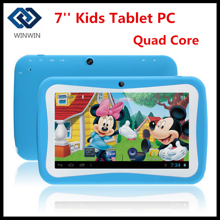 "2015 NEW 7"" Kids Tablet PC With Children Educational Apps 7inch RK3126 Quad Core 8G ROM Dual Camera WiFi PAD for Children(China (Mainland))"