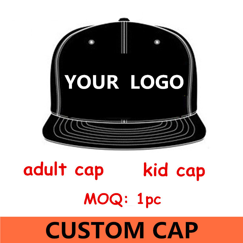 1pc logo custom Men's snapback baseball cap flat bill peak sport hat design 3D embroidery print free shipping(China (Mainland))