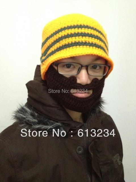 Free Shipping 1Piece Beard Hat Beard Beanie Hat Outdoor Sports Bearded Knit Hat Warm Winter Cap