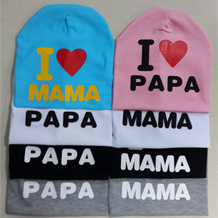 2015 New Baby's hat Cotton Knitted Warm Beanie Hat for Toddler Baby hat Kids Girl Boy cap I LOVE PAPA MAMA print baby cap(China (Mainland))