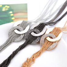 Long Tassel Necklaces Jewelry Gold Filled Fashion Rhinestone Round Pendant Necklace for Girl Sweater Chain for Women Statement