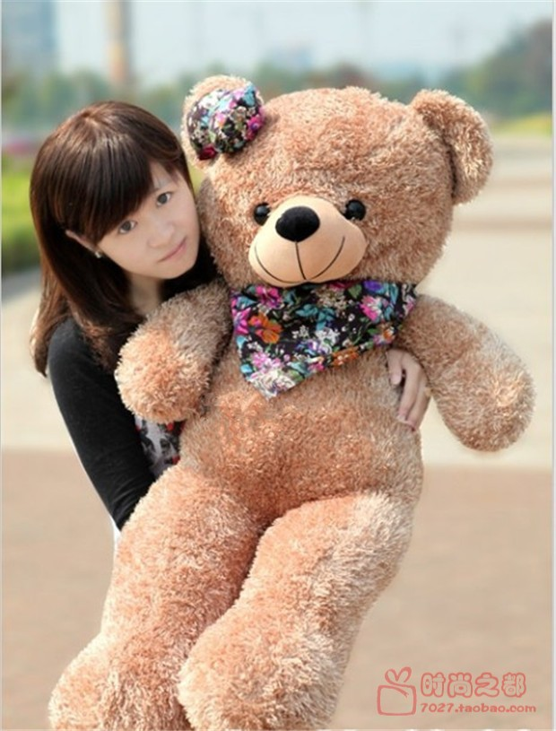 big lovely teddy bear toy plush sweet bear doll with flower scraf gift toys about 100cm(China (Mainland))