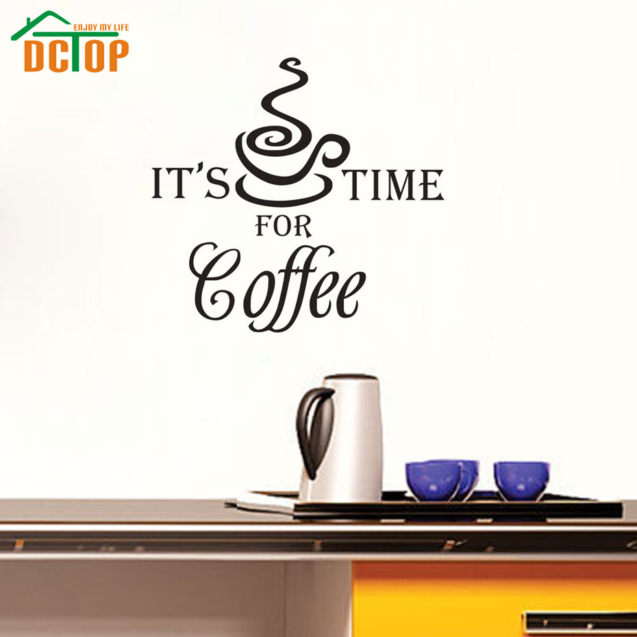 It'S Time For Coffee Cup Vinyl Stickers Home Decoration Wall Art Living Room Decorative Wallpaper Kitchen Wall Stickers(China (Mainland))
