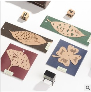 Free shipping Zakka Stationery  Clovers/Leaves wooden Bookmarks / gift bookmark,4 design/ 20pcs/lot, wholesale<br><br>Aliexpress