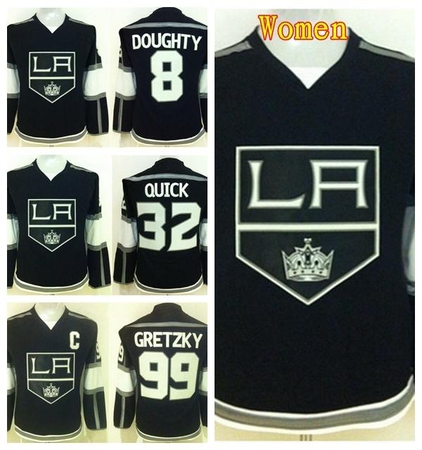 Los Angeles Kings Women Hockey Jerseys LA Kings 8 Drew Doughty 99 Wayne Gretzky 32 Jonathan Quick Jersey Lady's Team Color Black(China (Mainland))