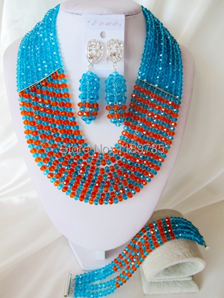 Fashion Nigerian African Wedding Beads Jewelry Set ,Crystal Necklace Bracelet Earrings Set A-6176<br>