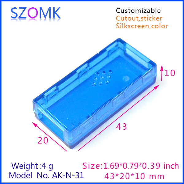 1 pc plastic usb box electronics project enclosures transparent Blue junction case USB 43x20x10mm(China (Mainland))