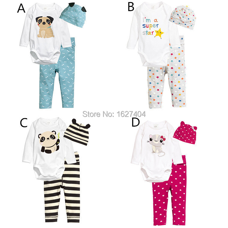 2015 sport suit baby clothing animal print t-shirt+ floral printed pant + free hat baby boy clothes(China (Mainland))
