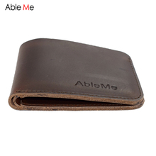 Buy AbleMe Two Folded Short Section Men Leather Handmade Wallet Can Custom Name Elegant Fashion Purse Gift Men Hand Made for $10.60 in AliExpress store
