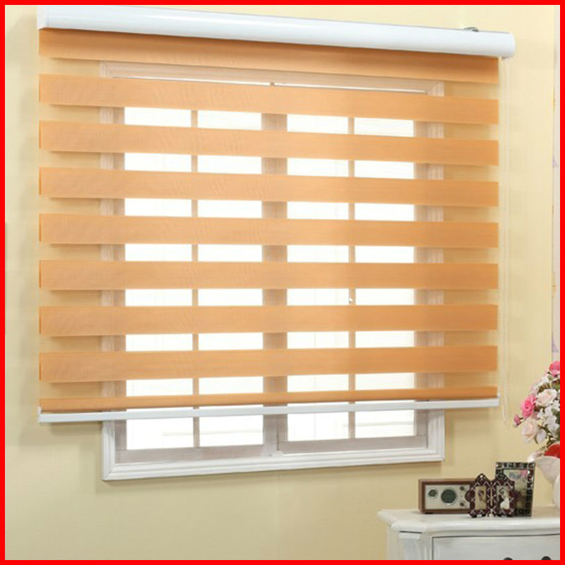 Zebra Roller Blinds : Custom size high quality zebra blinds double layer window