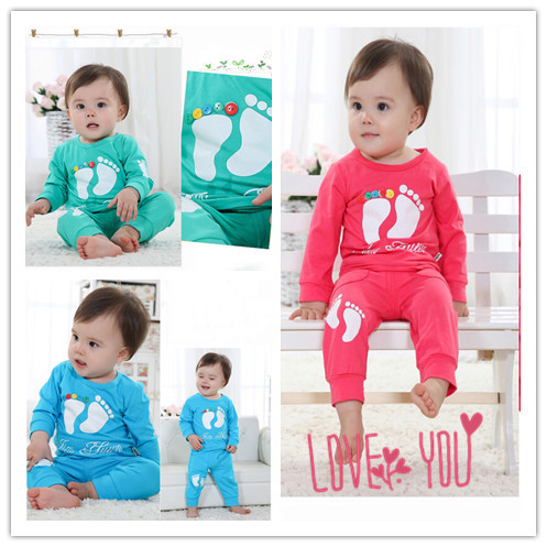 NEW One Suit 1-2 Years Baby Boys And Girls Kids Cotton Footprint Suits Outfits For Children For Gift S600 S600(China (Mainland))