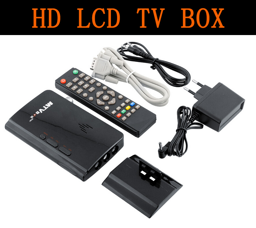 New Hot selling External LCD CRT VGA External TV Tuner PC BOX Receiver Tuner HD 1080P Speaker TV Box With Remote Control(China (Mainland))