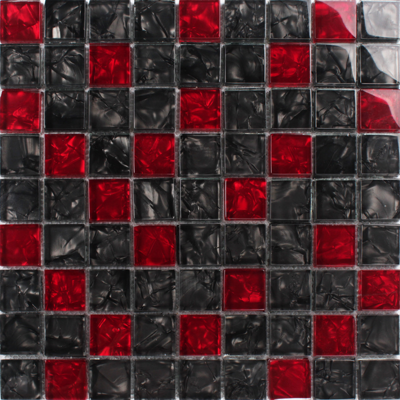 Glass kitchen picture more detailed picture about red for Red and black kitchen backsplash