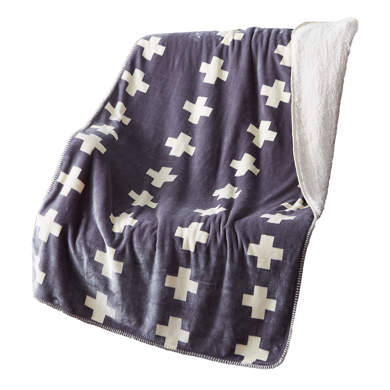 Multifunctional printed crosses print gray soft thick double face blanket coral fleece microfiber fabric 110x150cm blanket(China (Mainland))