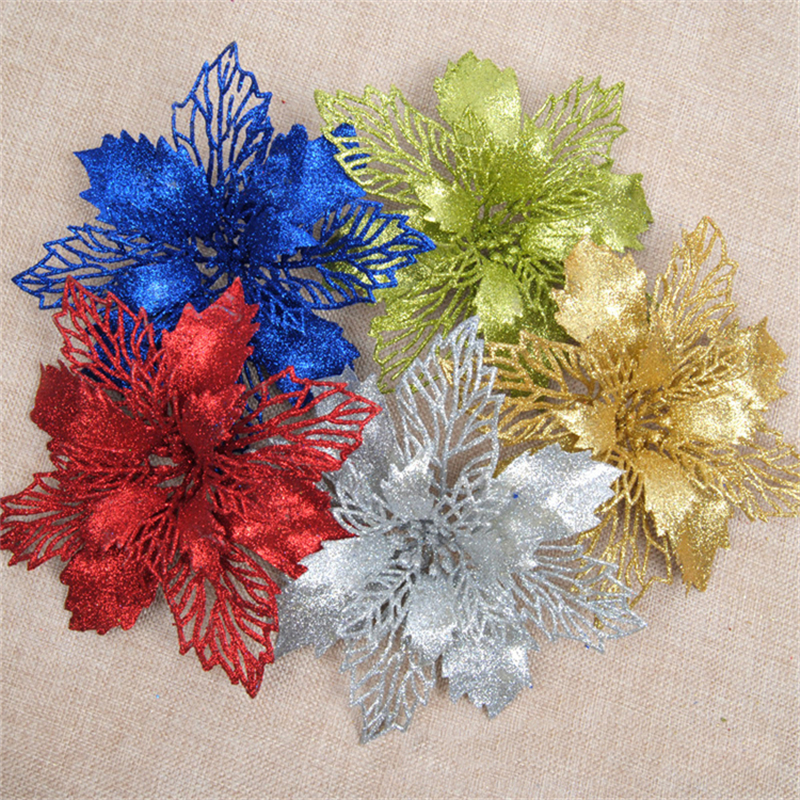 1Pcs 15/18cm Gold Silver Red Christmas Flower Glitter Christmas Tree Ornaments Festival Party Home Xmas Decoration(China (Mainland))