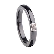 Romacci Полированной Nano Керамические Кольца Диаманта CZ S925 Стерлингового Серебра Кольца для Женщин Мужчин Встроенные Белого Золота Гальваническим(China (Mainland))