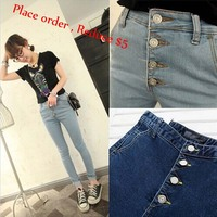 Skinny Full Length Fashion Women Jeans High Waist Button Fly Pencil Pants 2015 New Spring Cotton Girl's Jeans Free Shipping