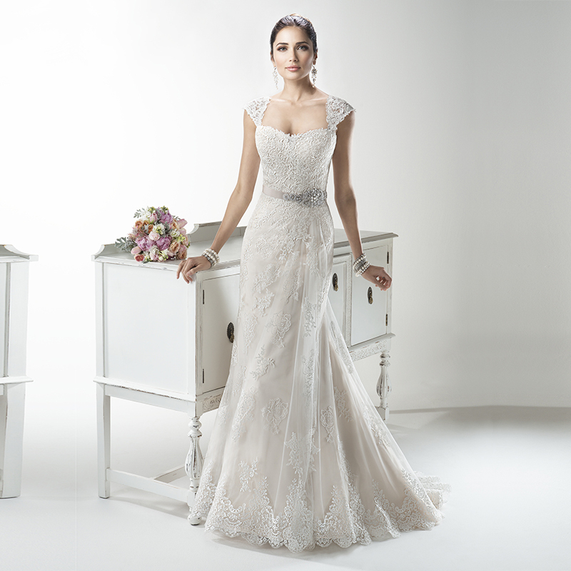 Vnaix W400 2015 Short Sleeves Lace Wedding Dresses Removed Sleeves Plus Size Lace Up With Sashes