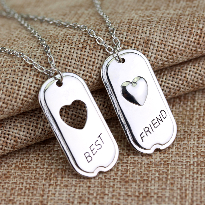 fashion friendship jewelry Best friend 2 heart pendant necklace(China (Mainland))