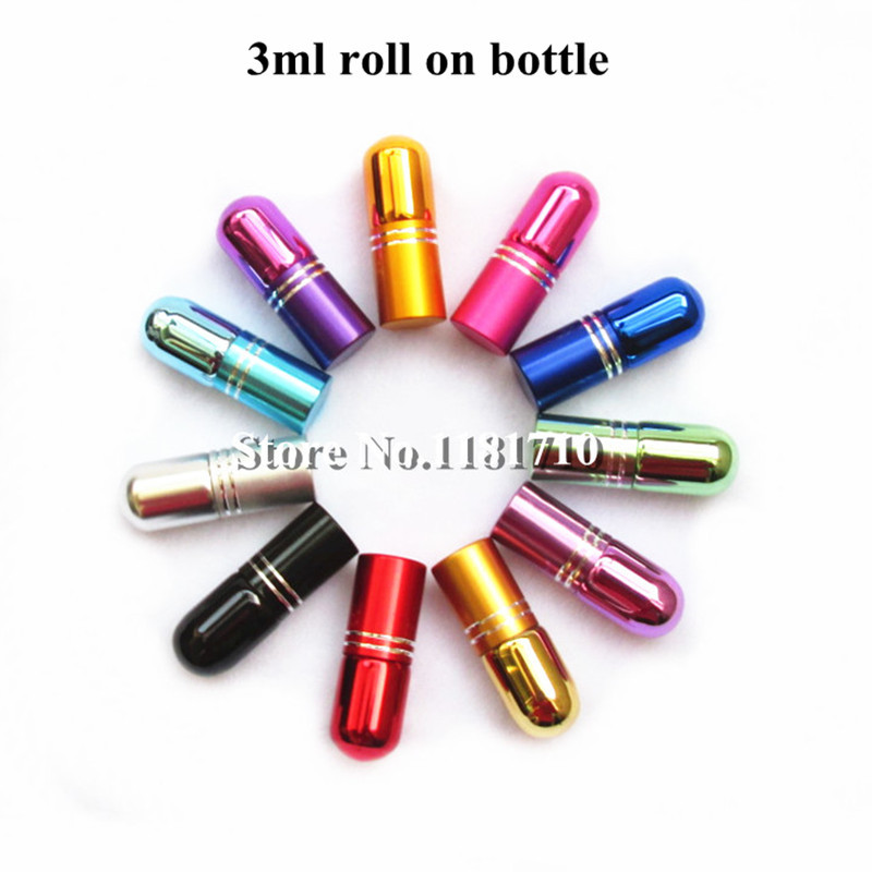 12pcs/lot 3ml Glass Roll On Bottle Mini Essential Oil Bottle Refillable Tiny Perfume Glass Vials 7Colors Free Shipping(China (Mainland))
