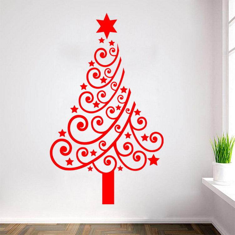 2015 Hot Sale Black White Red Christmas Tree Vinyl Wall