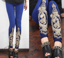 2015 New Female Plus Size Royal Blue Slimming Skinny Luxury Lace Embroidery Boutique Pants Girls Special Leggings Free Shipping(China (Mainland))
