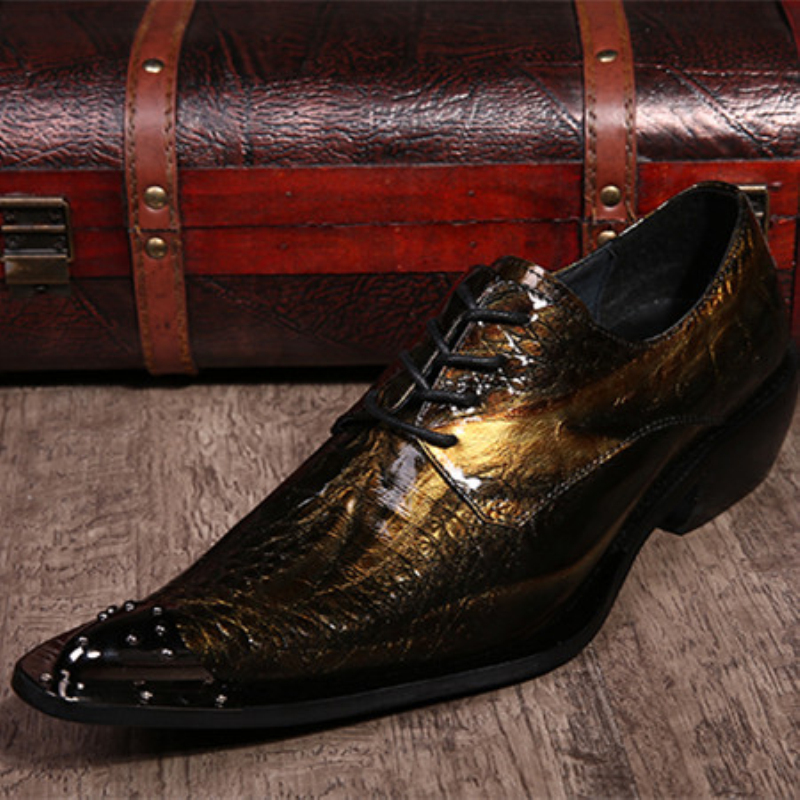 Gold Mens Dress Shoes Flats Genuine Leather Wedding Shoes Mens Formal Business Shoes Man Oxfords Shoes for Work Plus Size 38-46(China (Mainland))