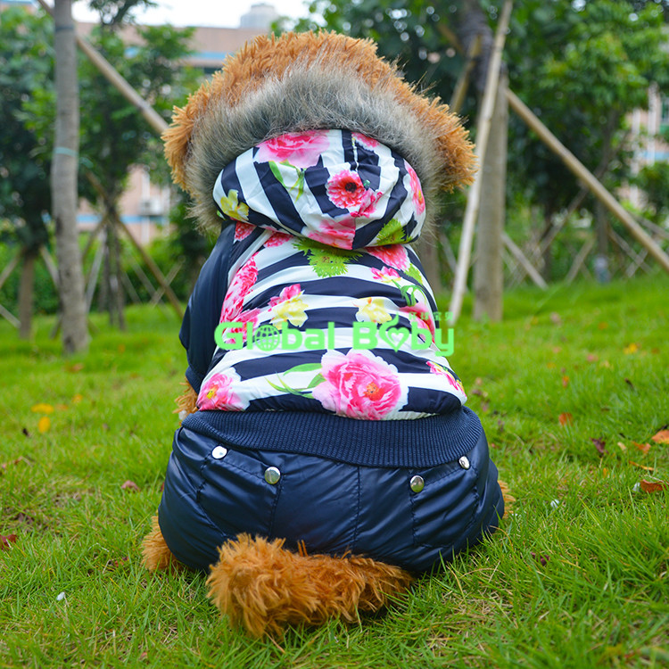 100%High Quality Windbreaker Fur Pet Dog Coat Luxurious Flower Pattern Winter Warm Dog Puppy Parkas Clothing